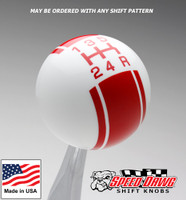 White / Red Racing Stripe Shift Knob