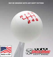 White / Red Competition Shift Pattern Shift Knob