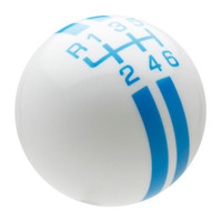 White / Grabber Blue Rally Stripe Shift Knob