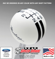 Mustang Script Rally Stripe Shift Knob for 2015 & Newer Mustang with Reverse Lockout