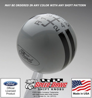 Ford Oval 6 Speed Reverse Upper Left Rally Stripe Shift Knob 2005 - 2014