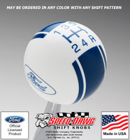 Ford Oval Logo Racing Stripe Shift Knob White with Dark Blue Graphics