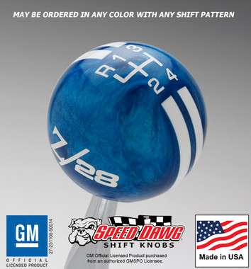 Blue Pearl knob with White graphics