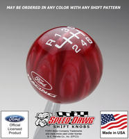 Ford Racing Logo Shift Knob with Inlaid 6 Speed Reverese Upper Left Shift Pattern 2005 - 2014