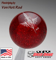 Transparent Red Metalflake Pinstriped Spider Web Shift Knob by Von Hot Rod