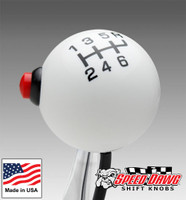 Pro White / Black 6 Speed Shift Knob with Line Lock / NOS Button