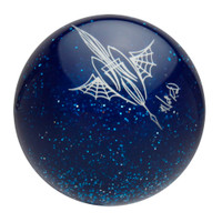 Transparent Blue Metalflake Pinstriped Spider Web Shift Knob by Von Hot Rod