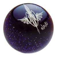 Transparent Purple Metalflake Pinstriped Spider Web Shift Knob by Von Hot Rod