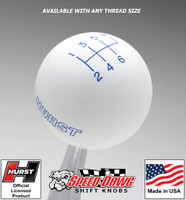 Hurst White w Blue 6 Speed Shift Knob - Large