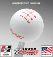 Hurst White w Red 6 Speed Shift Knob - Large