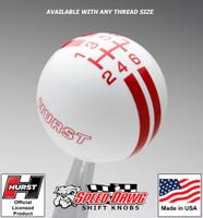 Hurst White / Red 6 Speed Rally Stripe Shift Knob