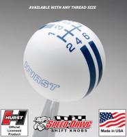 Hurst White / Dark Blue 6 Speed Rally Stripe Shift Knob