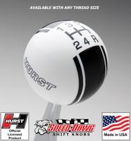 Hurst White / Black 5 Speed Racing Stripe Shift Knob