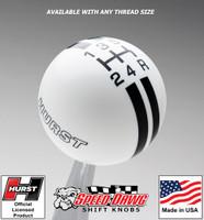 Hurst White / Black 5 Speed Rally Stripe Shift Knob