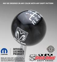 Dodge Ram Black Pearl shift knob with White graphics