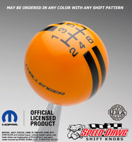 Challenger Rally Stripe Shift Knob Grabber Orange with Black graphics