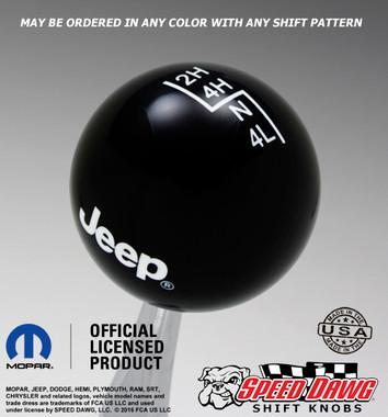 Black Jeep Logo Shift Knob With White Graphics