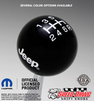 Black Jeep Logo Shift Knob with White Graphics