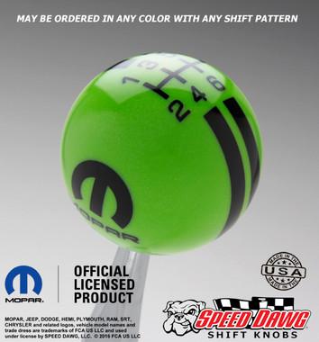 Green Mopar Logo Rally Stripe Shift Knob with Black Graphics