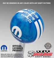 Blue Pearl Mopar Logo Rally Stripe Shift Knob with White Graphics