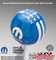 Blue Pearl Mopar Logo Rally Stripe Shift Knob with White Graphics