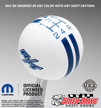 White R/T Logo Rally Stripe Shift Knob with Dark Blue Graphics