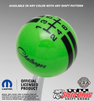 Go Green Challenger Script Rally Stripe shift knob with Black graphics