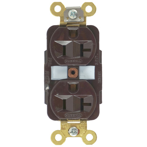 Edison Duplex 20A Panel Mount Connector, 5-20RD Front View