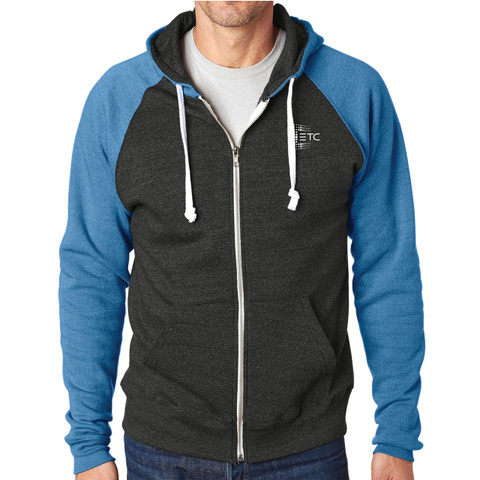 ETC Fleece Full Zip Hoodie - Grey/Royal
