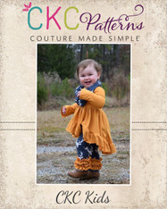 Uma's Knit Woven Strip work High Low Dress and Tunic in Girls and Tween PDF Pattern