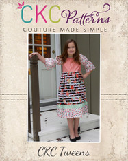 Callahan's Tween Ruched Stripwork Peasant Dress PDF Pattern