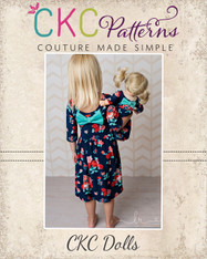 Amy's Knit Bow Dress and Maxi Doll Sizes PDF Pattern