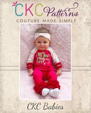 Sydney's Babies Curved Hem Ruffle Raglan Top and Dress PDF Pattern