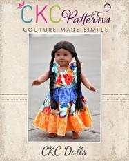 Corinna's One Shoulder Tiered Twirly Dress Doll Size PDF Pattern
