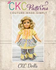 Caroline's Princess Peasant Top & Bonnie's Princess Pants Doll Size PDF Pattern