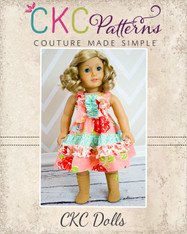 Aubrey's Tiered Ruffle Knot Dress Doll Size PDF Pattern
