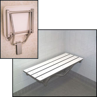 "Buy and Save on a Seachrome Bench Style 22"" x 15"" Shower Seat Naugahyde White - SSB-220150 NW"