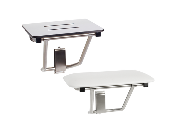 Seats Shown: Top: Phenolic white with slots for water drainage. Bottom: Naugahyde white cushion