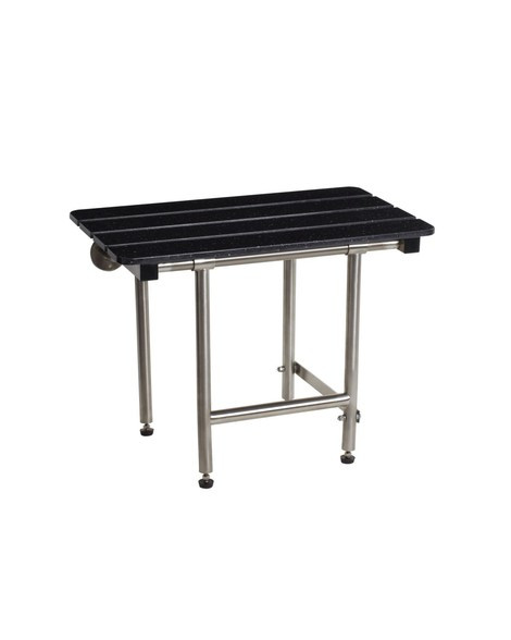 "Seachrome Bench Style 32"" x 15"" Naugahyde Shower Seat w/ Swing Down Legs - SSB2-320150 NW"
