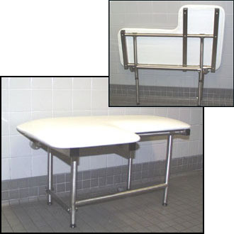 "Seachrome L-Shaped 26"" x 22.5"" Left Hand Shower Transfer Seat w/ Swing Down Legs - SSL2-260225 Naugahyde White"