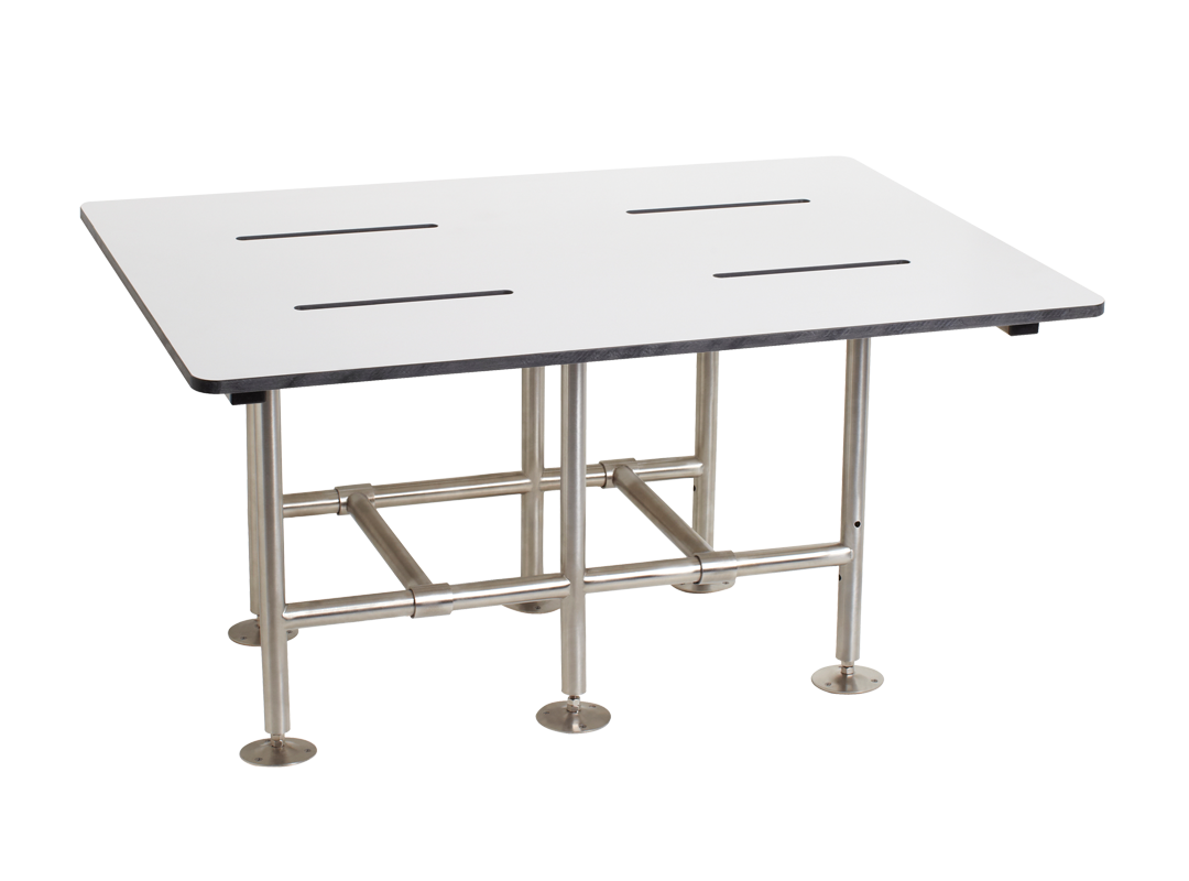 "Seachrome 36"" x 18"" Bariatric Shower Transfer Seat | Teak or Phenolic | Swing Down Legs - SSB3-360180"