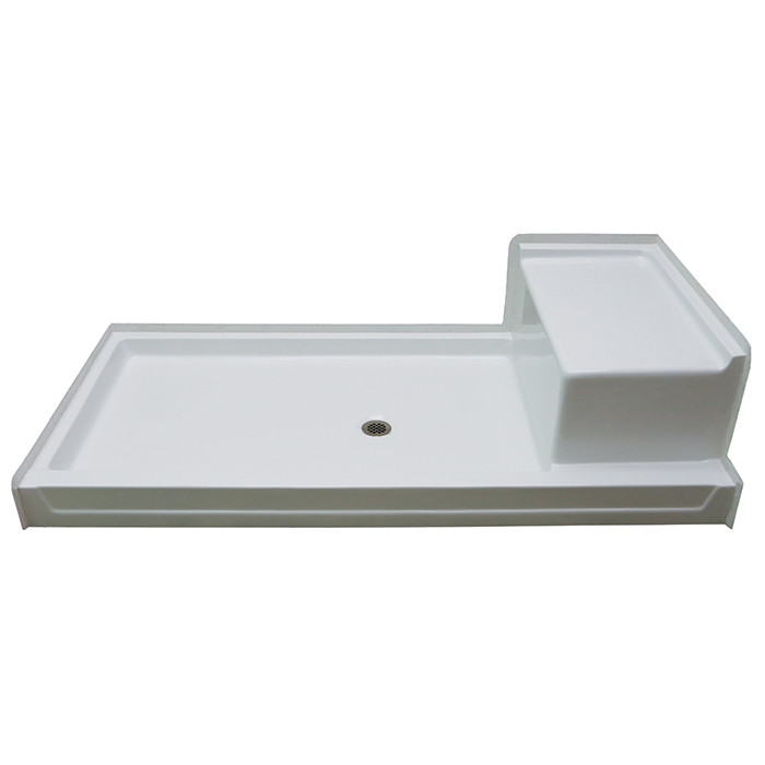 "Aquarius AcrylX™ 72 x 36 Shower Pan with Seat | 5"" Easy-Step Threshold 