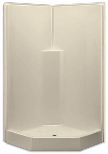 Aquarius AcrylX™ | One-Piece | Neo-Angle | Corner Shower | 39.5W x 39.5D x 78.5H | Molded Soap Ledge Center Drain | G3892SHNA,  one-piece shower, 1-piece shower, corner shower, neo angle shower, remodel shower, low threshold, Cheap shower, Discount shower, low price shower, best price shower,  grab bar shower, sectional shower