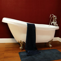 "Cambridge Plumbing - Acrylic  Slipper Bathtub 61"" X 30"" - AST61"