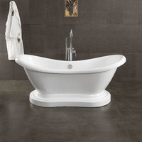 "Cambridge Plumbing - Acrylic Double Ended  Pedestal Slipper Bathtub 68"" X 28"" - ADES-PED"