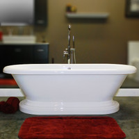 "Cambridge Plumbing - Acrylic Double Ended Pedestal Bathtub 70"" X 30"" - ADEP-NH"
