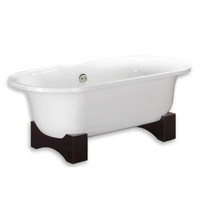 "Cambridge Plumbing - Acrylic Double Ended Wooden Cradle Pedestal Bathtub 70"" X 30"" - ADE202"