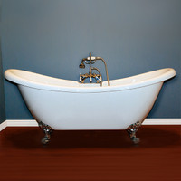 "Cambridge Plumbing - Acrylic Double Ended Slipper Bathtub 68"" X 28"" - ADES"