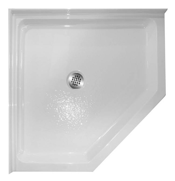 "Aquarius 38 x 38 Premium Acrylic corner shower pan | 4"" threshold. Drain Location: center 
