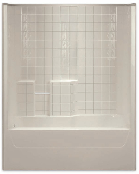 Aquarius AcrylX™ 60 x 32.5 Tub Shower Combo Simulated Tile Pattern Left Side Drain G3206TSTileL